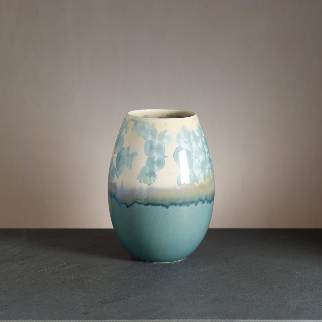 Crystal vase - Light petrol/Steel blue
