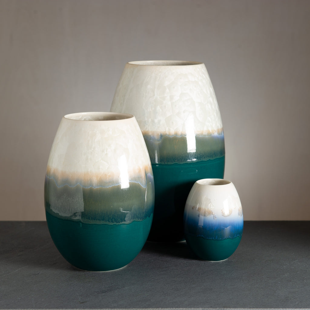 Crystal vase - Dark green/Snow white