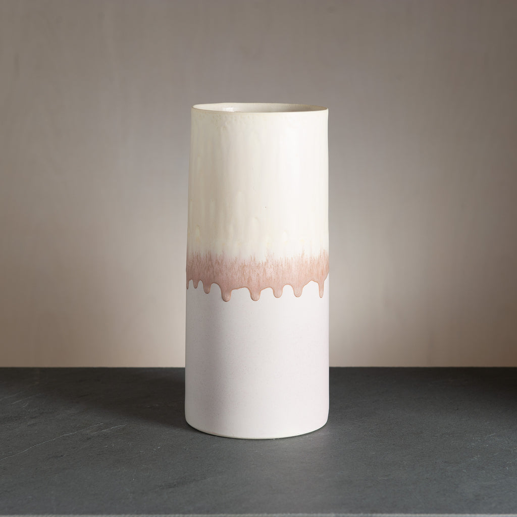 Sustainable Vase - Raspberry/Cream