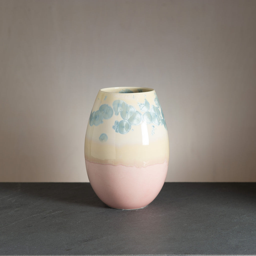 Crystal vase - Light pink/Steel blue