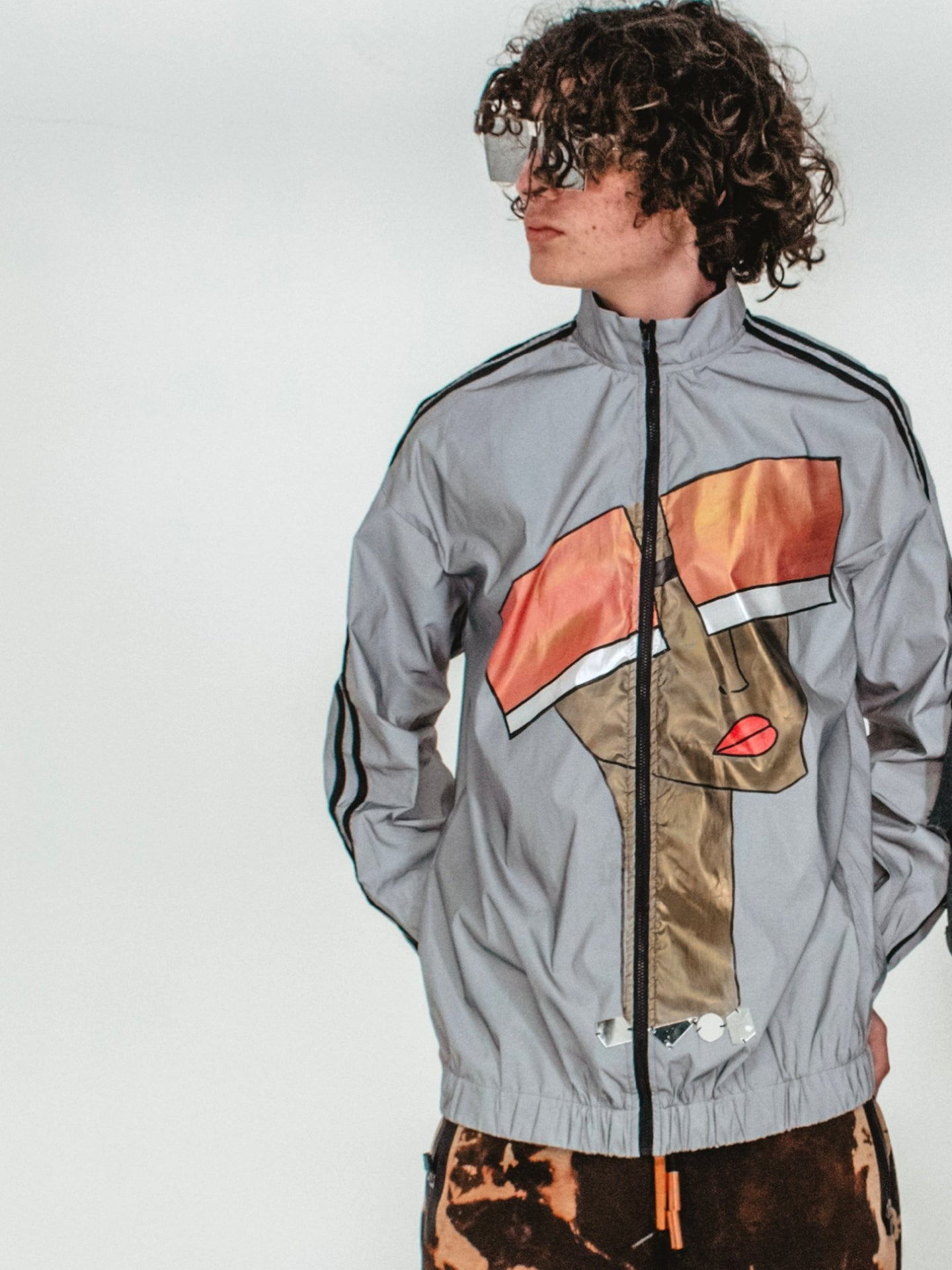 Unisex Hand Painted Zip-Up Reflective Jacket