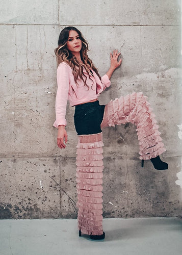 Ruffle Pink Tulle Jeans