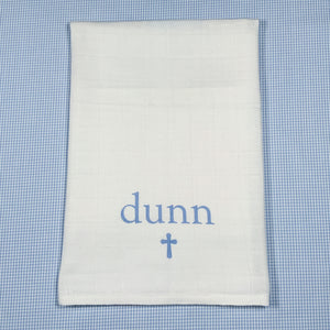 BURP CLOTH for Baptism/Christening/Sunday Church...name in print