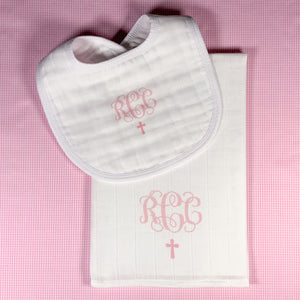 BABY GIRL Christening/Baptism/Sunday Church BIB + BURP CLOTH SET