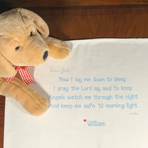 Prayer Pillowcase + Name in BLUE