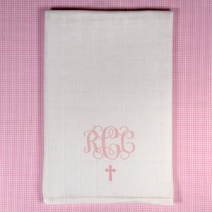 BABY GIRL Baptism/Christening/Sunday Church BURP CLOTH