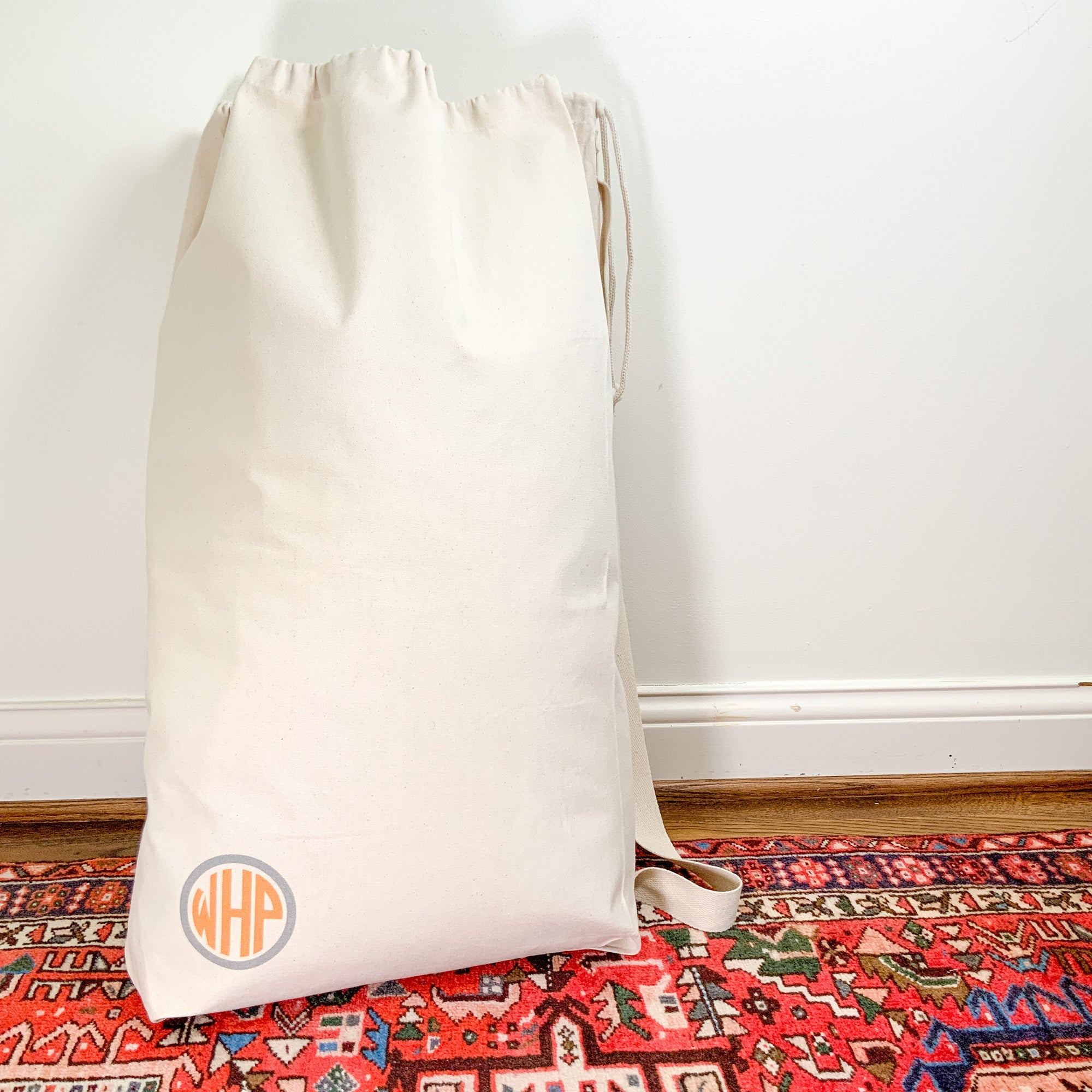 Cotton Canvas Laundry Bag...circle monogram