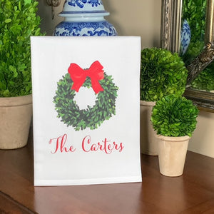 CHRISTMAS BOXWOOD WREATH Flour Sack Towel