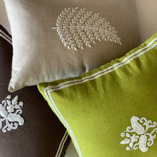 Load image into Gallery viewer, Pearl Embroidered Leaf Cushion Cover