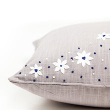 Load image into Gallery viewer, Harbour Blue Floral Stitch Cushion Cover