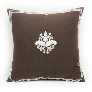Imperial Threadwork Motif Cushion Cover - Brown