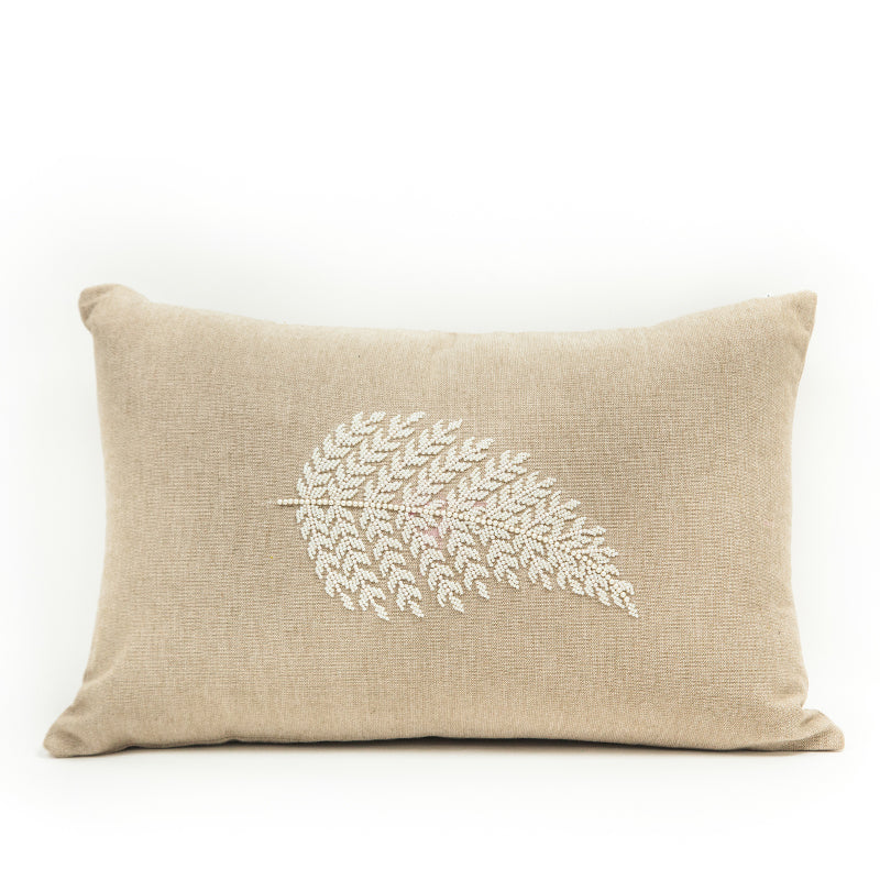 Pearl Embroidered Leaf Cushion Cover