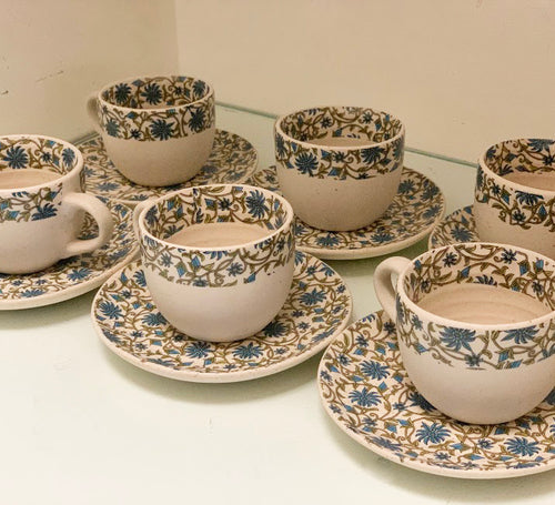 Ceramic Persian Blue Tea Cup Set - Set of 6