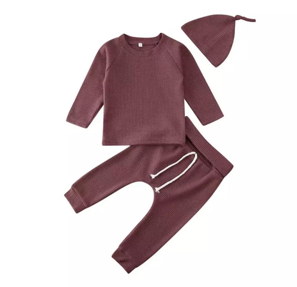 PRESALE Waffle Knit Lounge Set in Hot Cocoa