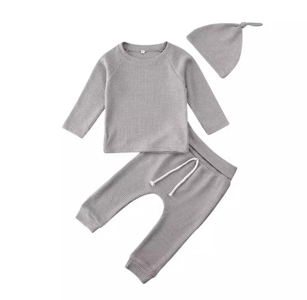 PRESALE Waffle Knit Lounge Set in Gray