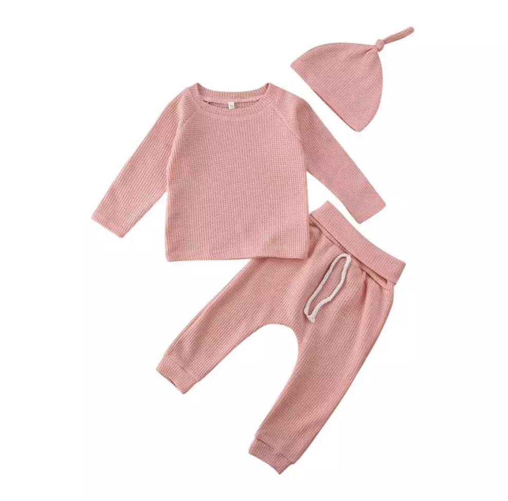 PRESALE Waffle Knit Lounge Set in Blush