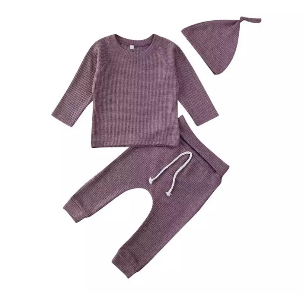 PRESALE Waffle Knit Lounge Set in Plum