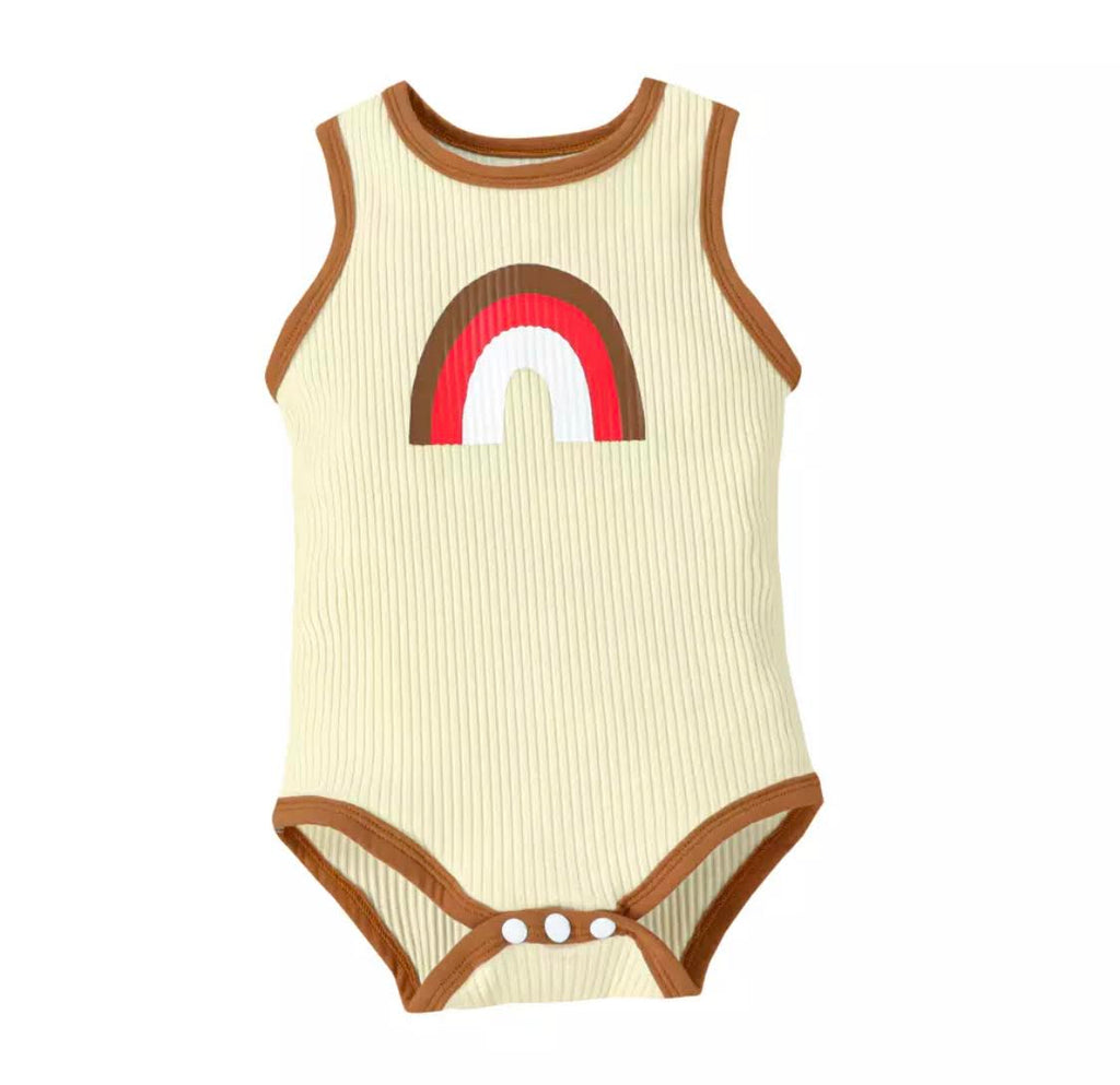 Retro Rainbow Romper in Beige
