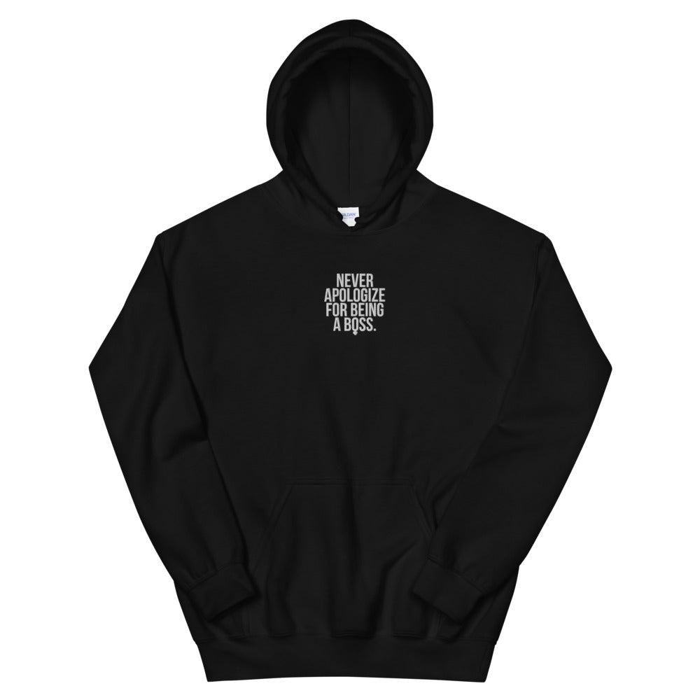Unapologetic Female Boss Embroidered Hoodie (White Stitching)
