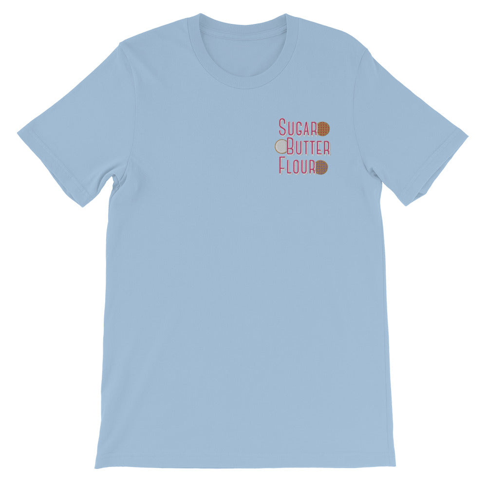 Pie Ingredients Embroidered T-Shirt (Light Blue)