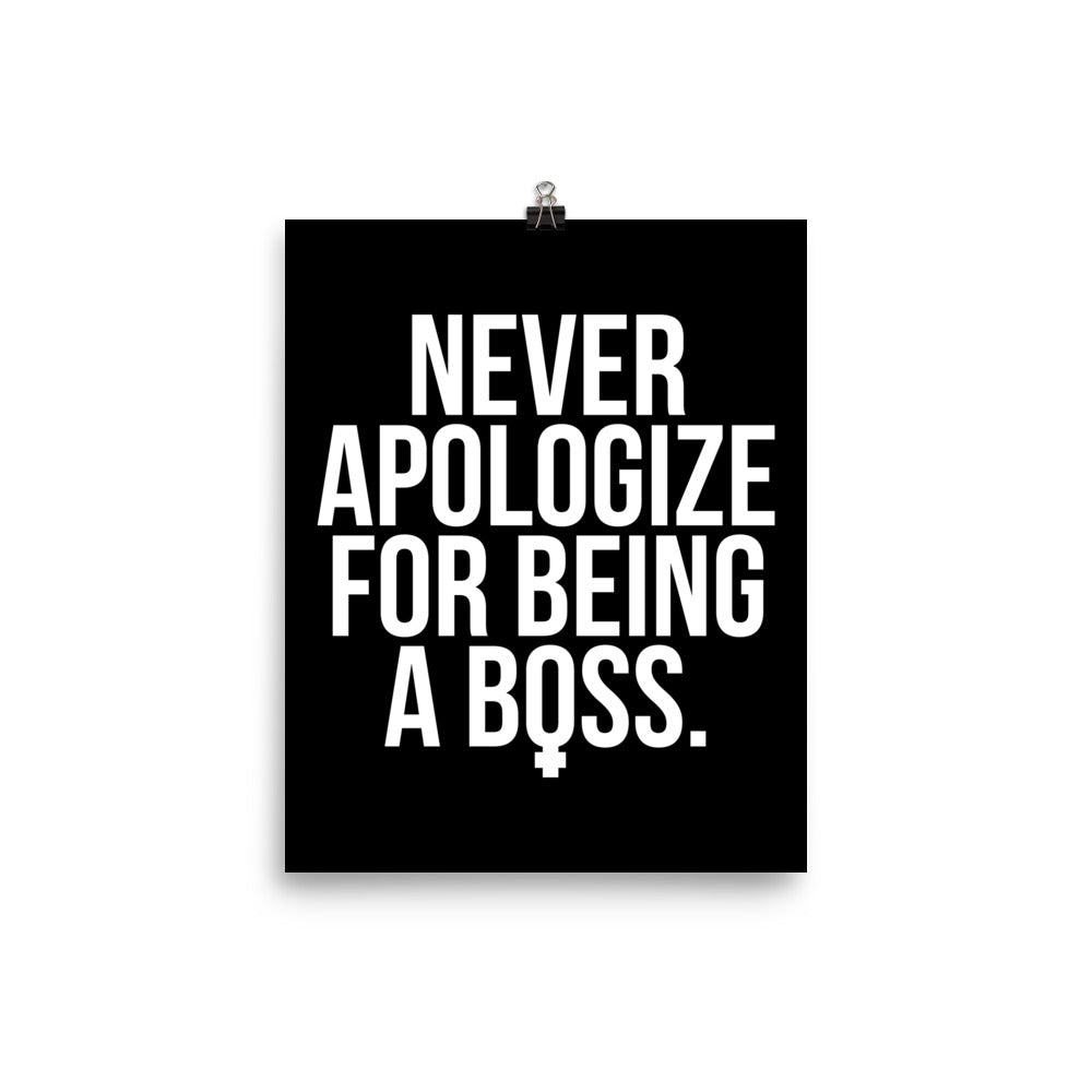 Unapologetic Female Boss Print (White on Black)