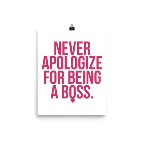 Unapologetic Female Boss Print (Pink on White)