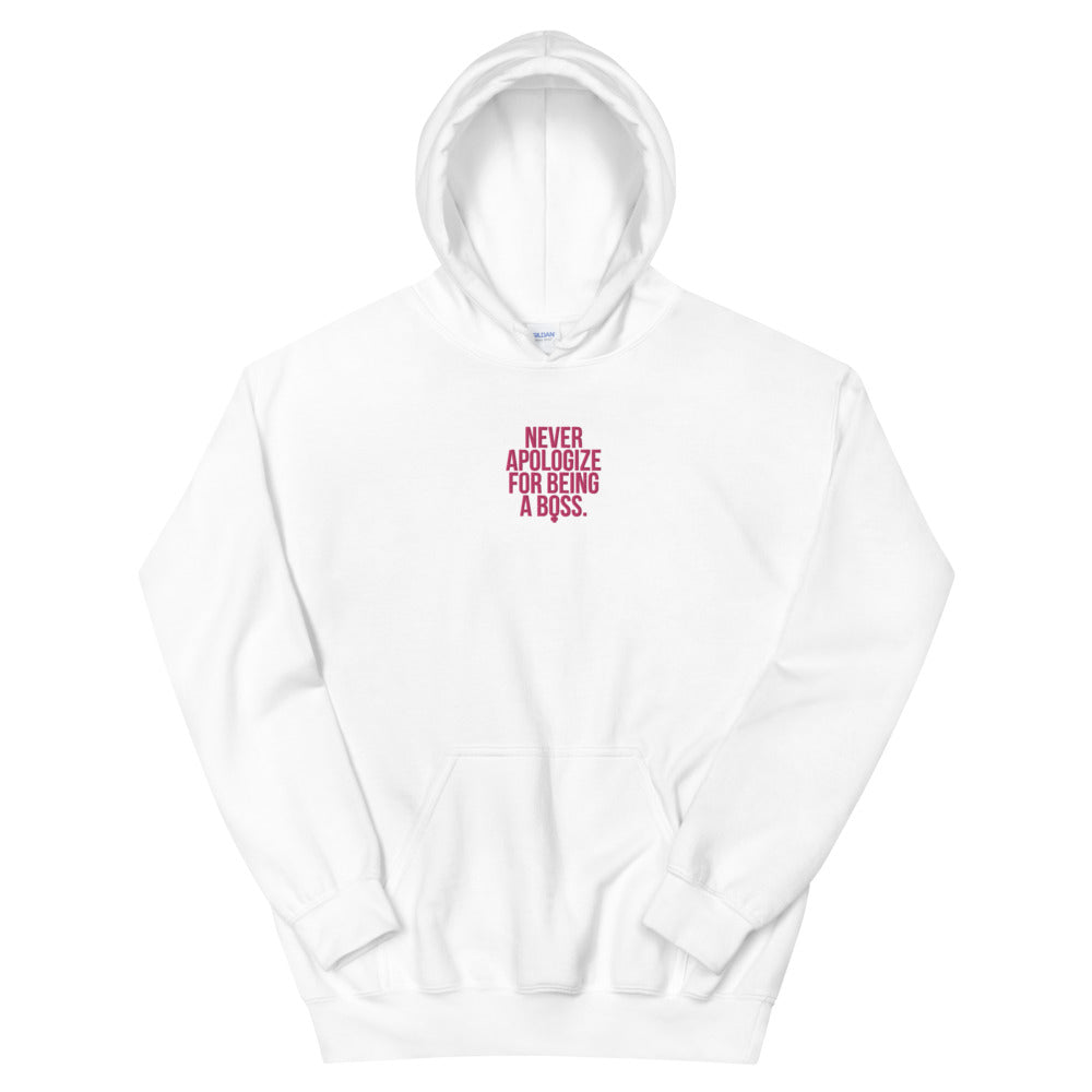Unapologetic Female Boss Embroidered Hoodie (Pink Stitching)