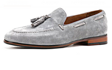 Load image into Gallery viewer, Grey Suede Tassel Loafers