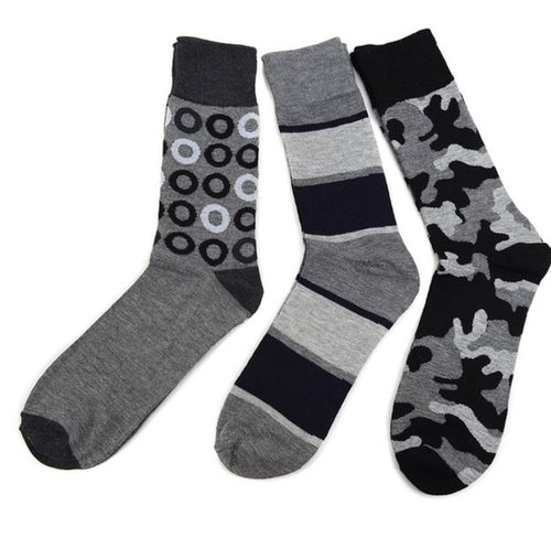 Assorted Pack (3 Pairs) Men's Abstract Casual Fancy Socks