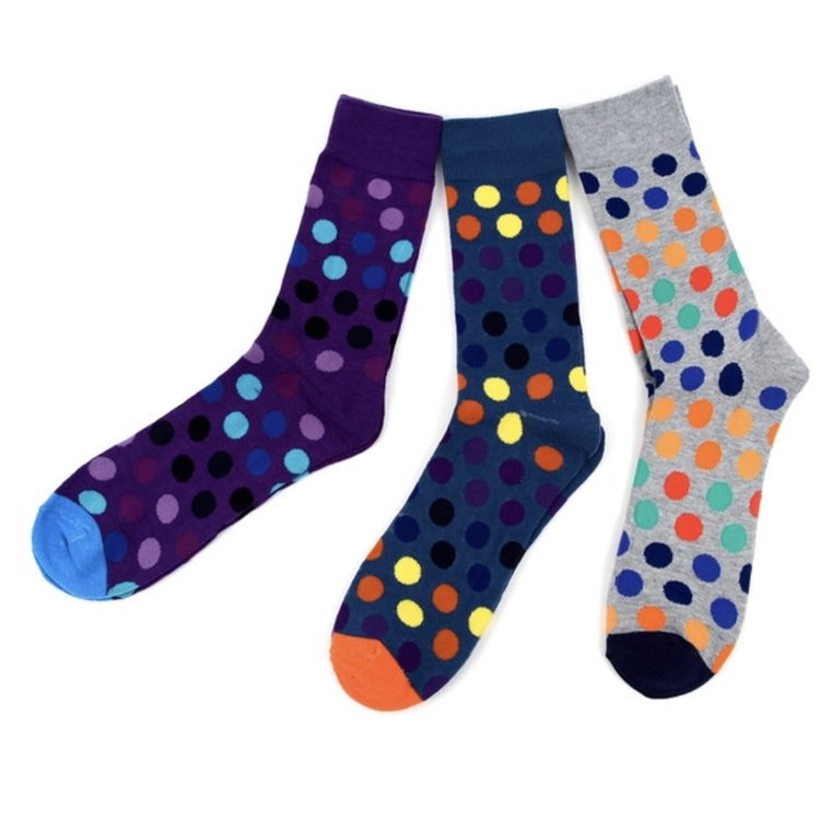 Assorted Pack (3 Pairs) Men's Polka Dot Casual Fancy Crew