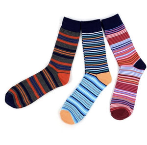 Assorted Pack (3 Pairs) Men's Striped Casual Fancy Crew Socks