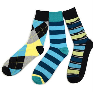 Turquoise Casual Fancy Socks (3Pair)