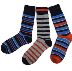 Assorted Pack (3 Pairs) Men's Red Striped Casual Fancy Socks
