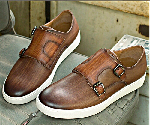 Brown Double-Monk Leather Sneakers