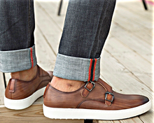 Load image into Gallery viewer, Brown Double-Monk Leather Sneakers