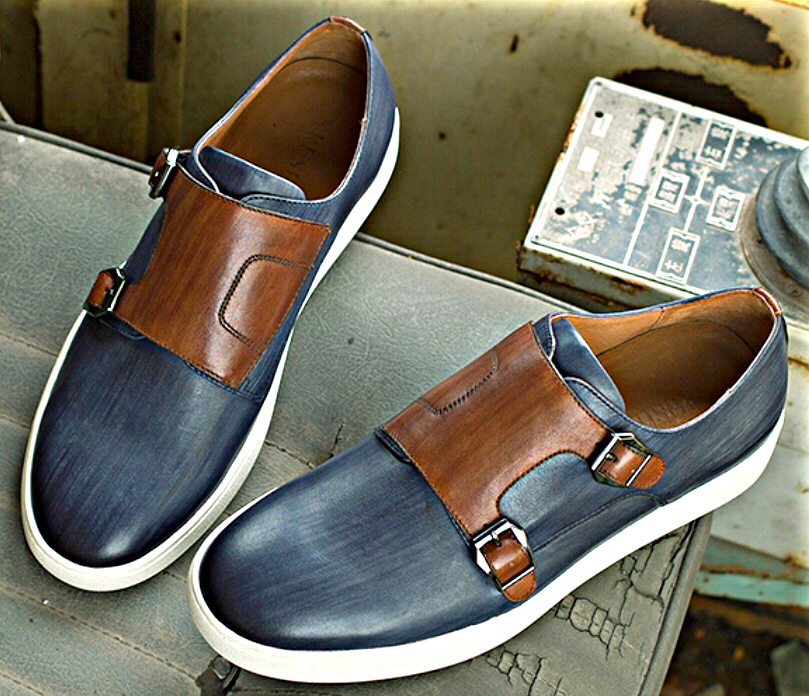 Blue/ Brown Double-Monk Leather Sneakers
