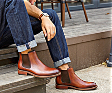 Load image into Gallery viewer, Brown Motif Chelsea Boots