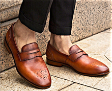 Load image into Gallery viewer, Brown Leather Penny Loafers