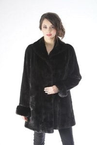 Mink 3/4 Coat w/ Turned Back Cuffs-Style 4551