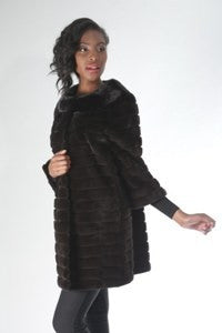 Sheared & Grooved Horizontal Mink 3/4 Coat with 3/4 Sleeves- Style 4727