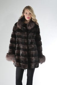 Charcoal Degrade Mink 3/4 Coat with Silver Fox Trim