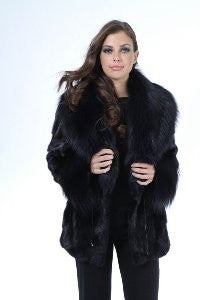 Sculpted Sheared Mink Sections 3/4 Jacket with Fox Collar - Style 8881