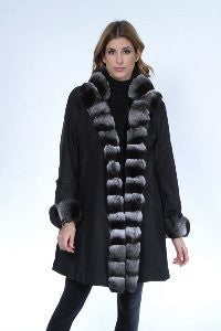 Black Sheared Mink 3/4 Jacket Reversible to Taffeta with Chinchilla Trim - Style 6522