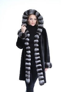 Black Sheared Mink 3/4 Coat Reversible to Taffeta with Chinchilla Trim Hood - Style 6619