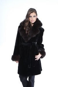 Black Sheared Mink 3/4 Coat with Sable Collar - Style 9394