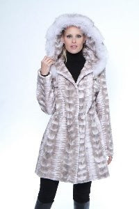 Sculpted Sheared Mink 3/4 Coat with Fox Trimmed Hood - Style 8909