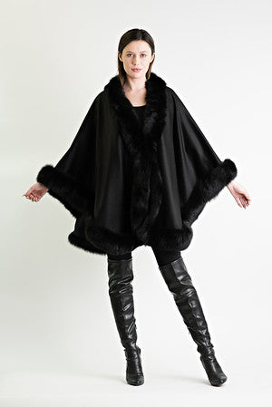"100% Cashmere Cape with Matching Fox Trim - Style ""The Classic"" - 9 Colors"