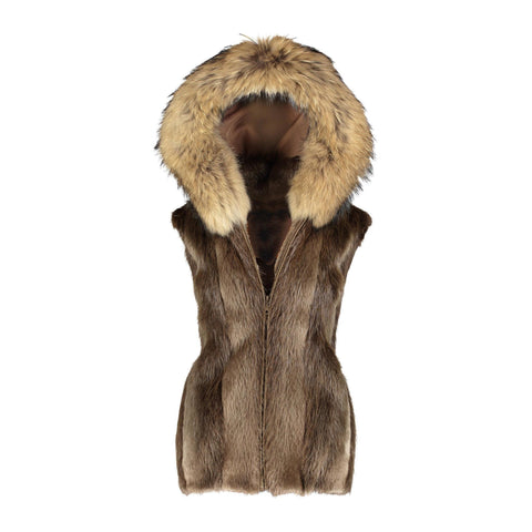 Natural Long Hair Beaver Vest w/ Finnish Raccoon Trim Hood - Style 3308