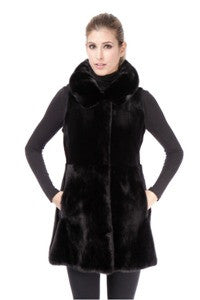 Black Sheared Mink Vest with Mink Collar and Skirt - Style 7323