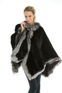 Black Sheared Beaver with Indigo Fox Trim Cape - Style 8700